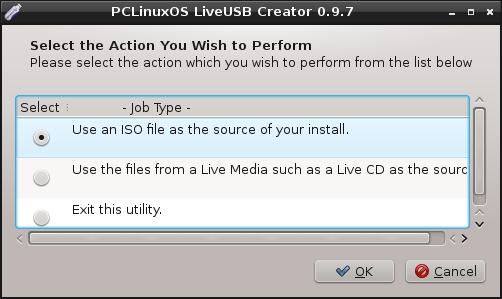 how to create pclinuxos live usb