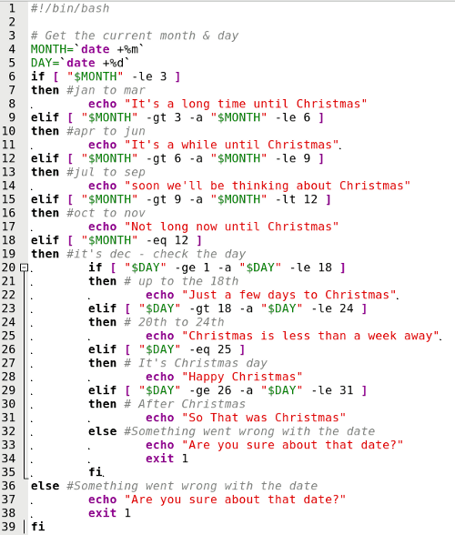 line 1 is our standard bash script header line 3 is a comment and ignored