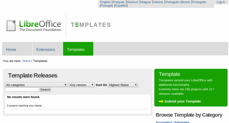 you can click on httptemplateslibreofficeorgtemplate center and find templates that are available you will see a drop down with categories